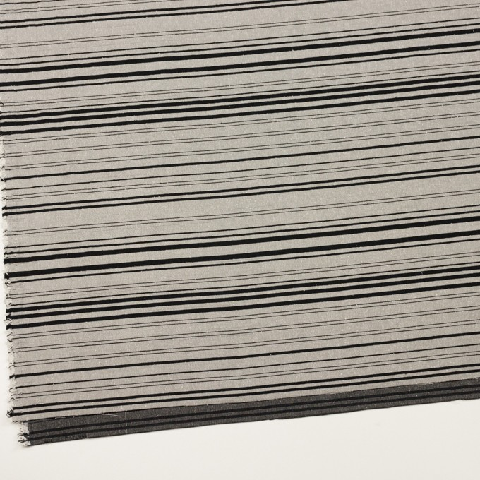 シルク&ポリエステル混×ボーダー(シルバー&ブラック)×シャンタン イメージ2