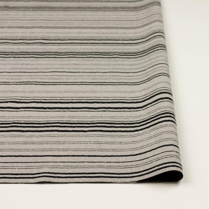 シルク&ポリエステル混×ボーダー(シルバー&ブラック)×シャンタン イメージ3