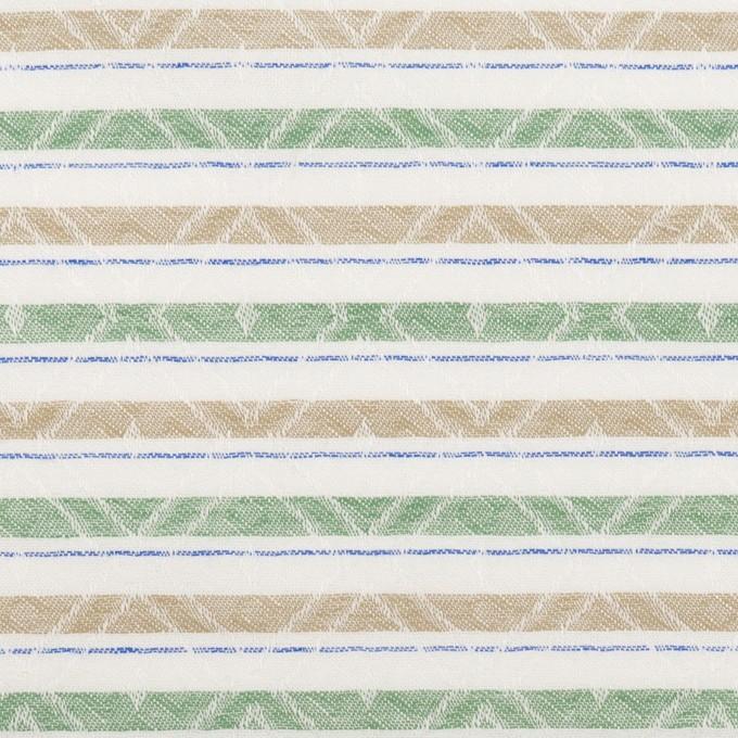 コットン×ボーダー(グリーン)×ジャガード_全3色 イメージ1