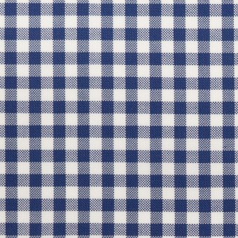 コットン×チェック(マリンブルー)×斜子織 サムネイル1