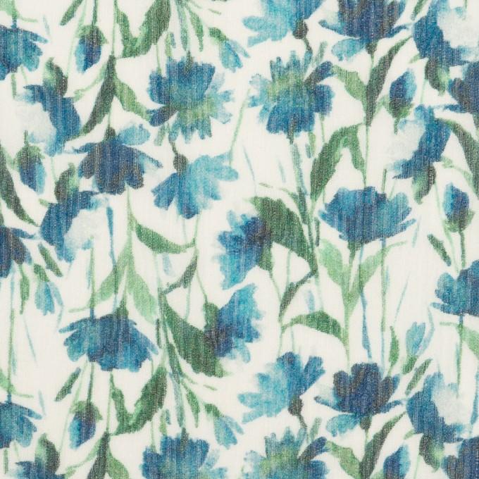 シルク×フラワー(ブルー)×クレープジョーゼット_全2色 イメージ1