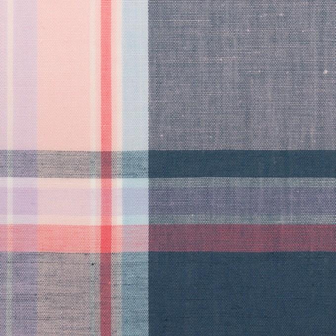 コットン×チェック(ペールピンク&アッシュネイビー)×ローン イメージ1