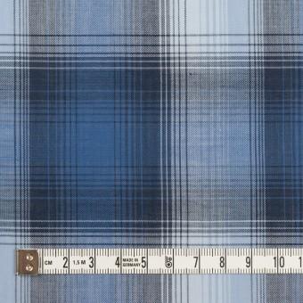 コットン×チェック(ブルー&ネイビー)×ローン サムネイル4