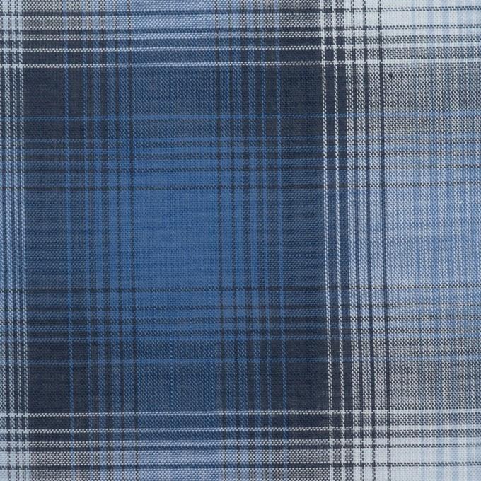 コットン×チェック(ブルー&ネイビー)×ローン イメージ1
