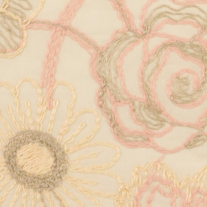 コットン×フラワー(エクリュ)×ローン刺繍 イメージ1