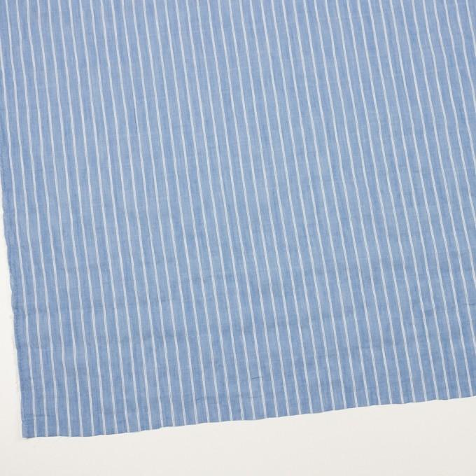 コットン&キュプラ混×ストライプ(サックス)×ボイルシャーリング_全2色 イメージ2