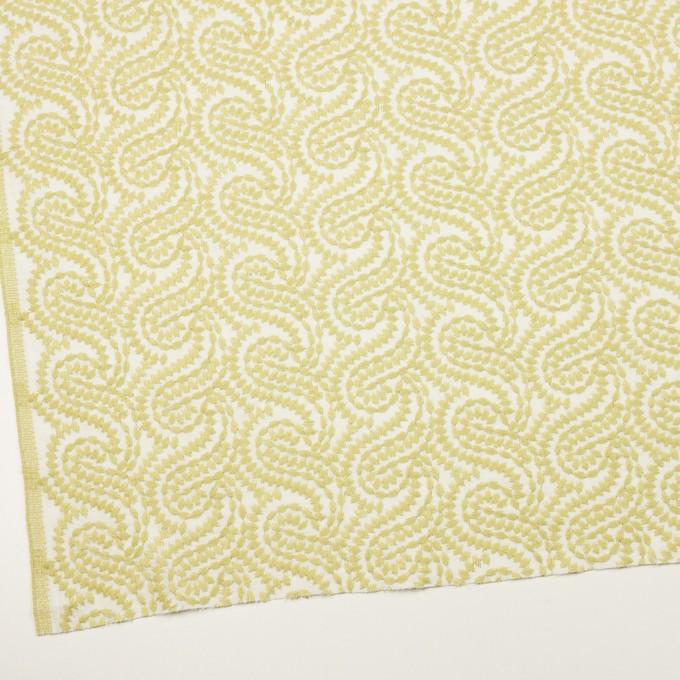 コットン×幾何学模様(イエローマスカット&オフホワイト)×Wガーゼ刺繍_全4色 イメージ2