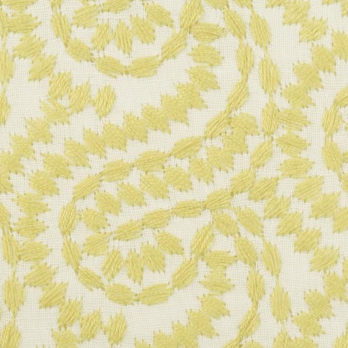 コットン×幾何学模様(イエローマスカット&オフホワイト)×Wガーゼ刺繍_全4色 イメージ1