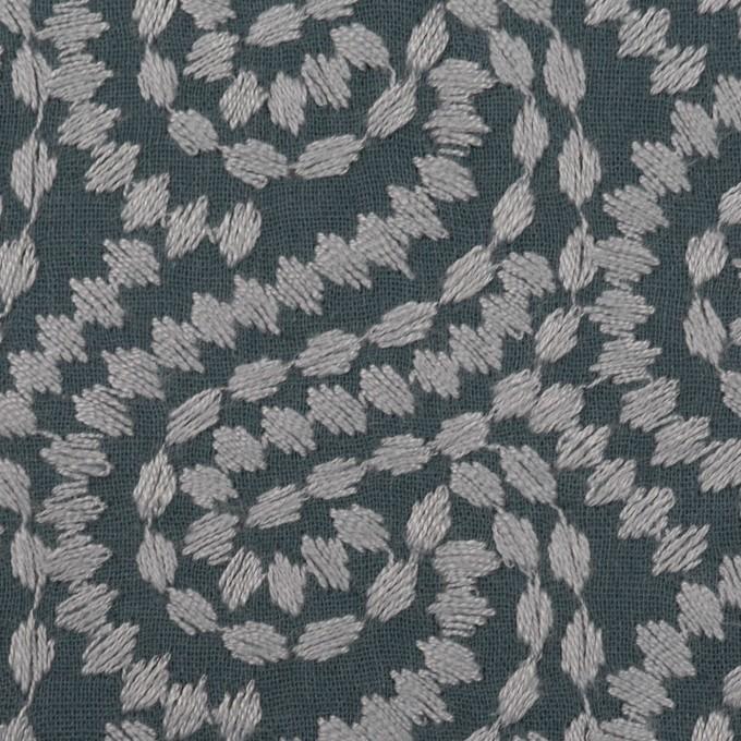 コットン×幾何学模様(グレー&チャコールグレー)×Wガーゼ刺繍_全4色 イメージ1