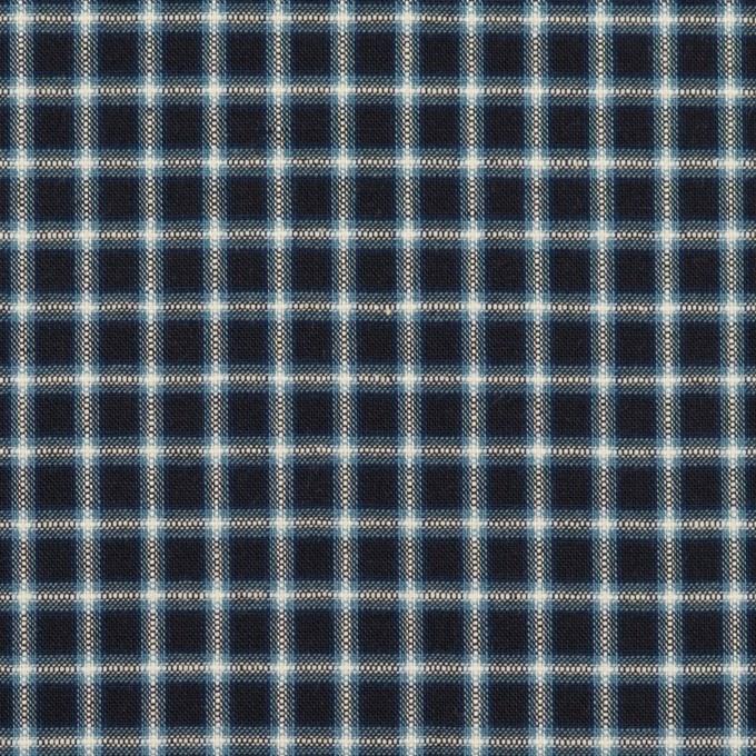 コットン×チェック(インディゴ)×ローン イメージ1