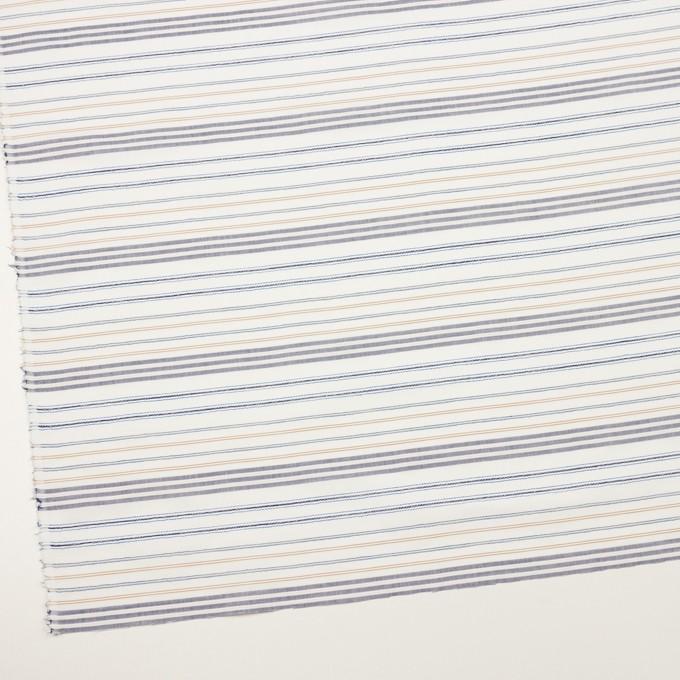 コットン&ポリエステル×ボーダー(ホワイト、オーカー&ネイビー)×ブロードジャガード イメージ2