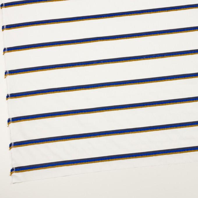 コットン&ポリエステル×ボーダー(ホワイト、オーカー&ブルー)×ブロードジャガード イメージ2