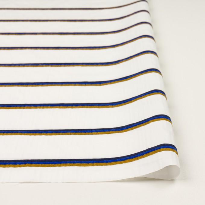 コットン&ポリエステル×ボーダー(ホワイト、オーカー&ブルー)×ブロードジャガード イメージ3