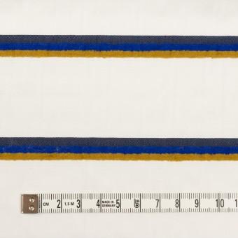 コットン&ポリエステル×ボーダー(ホワイト、オーカー&ブルー)×ブロードジャガード サムネイル4