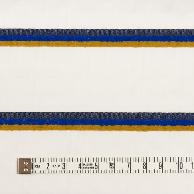 コットン&ポリエステル×ボーダー(ホワイト、オーカー&ブルー)×ブロードジャガード イメージ4