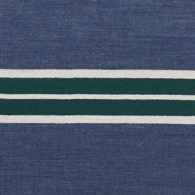 コットン×ボーダー(アッシュブルー&モスグリーン)×シャンブレー・ジャガード イメージ1