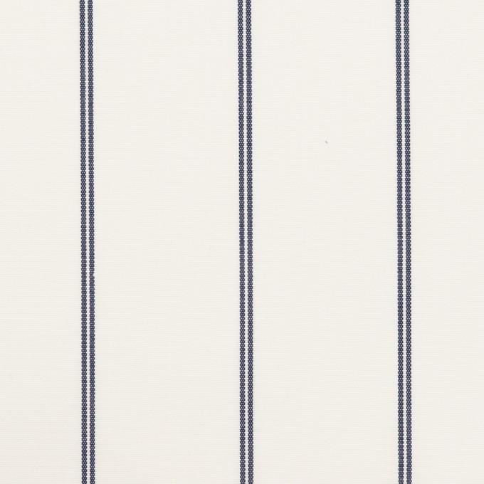 コットン&ポリエステル×ストライプ(ホワイト&ネイビー)×ブロード イメージ1