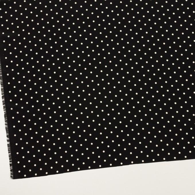 ポリエステル×水玉(ブラック&オフホワイト)×サテン イメージ2