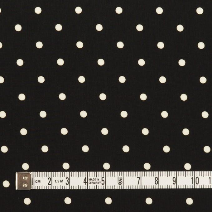 ポリエステル×水玉(ブラック&オフホワイト)×サテン イメージ4