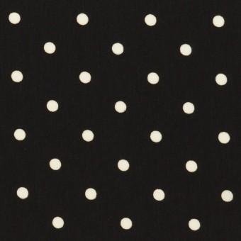 ポリエステル×水玉(ブラック&オフホワイト)×サテン サムネイル1
