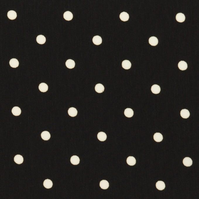 ポリエステル×水玉(ブラック&オフホワイト)×サテン イメージ1