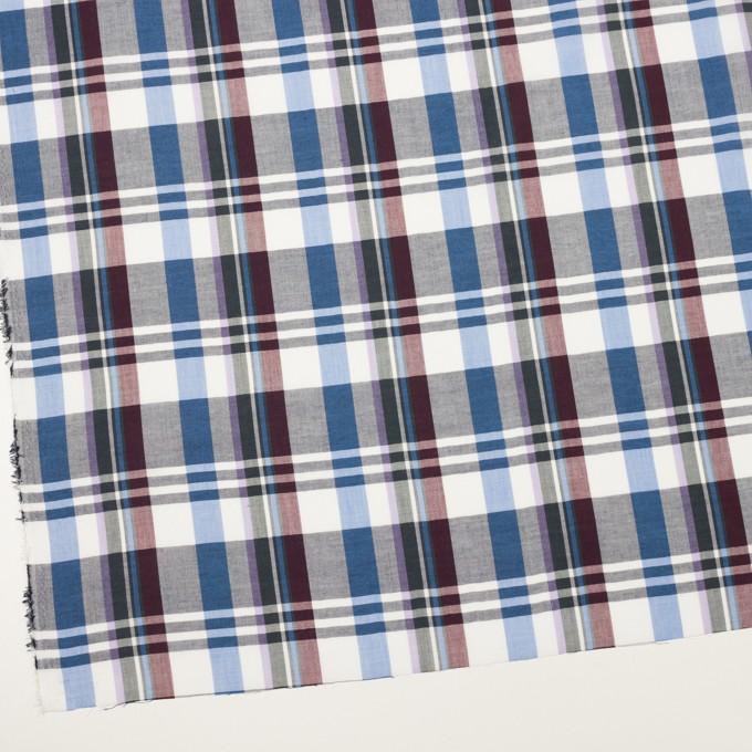 コットン&ポリエステル×チェック(バーガンディー&スモークブルー)×ローン イメージ2