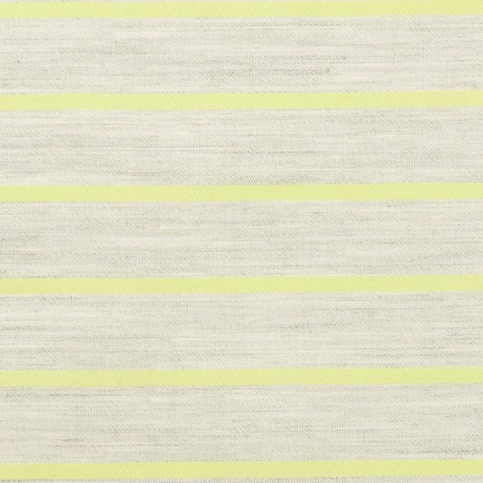 コットン×ボーダー(杢グレー&イエローグリーン)×ローンジャガード イメージ1