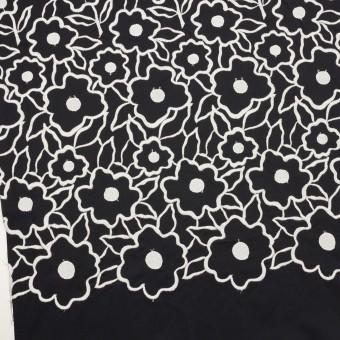 ポリエステル×フラワー(ブラック&ホワイト)×タフタ刺繍 サムネイル2
