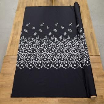ポリエステル×フラワー(ブラック&ホワイト)×タフタ刺繍 サムネイル6