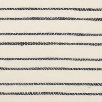 リネン×ボーダー(ミルク&ダークネイビー)×ヘリンボーン_イタリア製