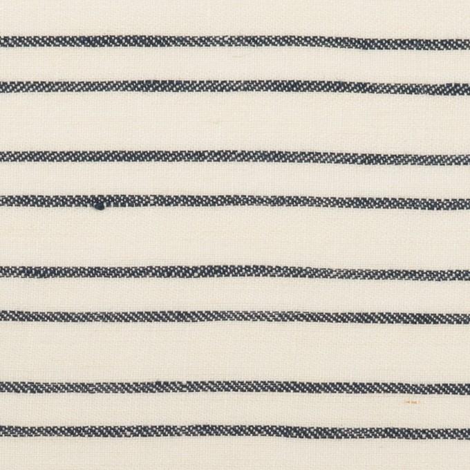 リネン×ボーダー(ミルク&ダークネイビー)×ヘリンボーン_イタリア製 イメージ1