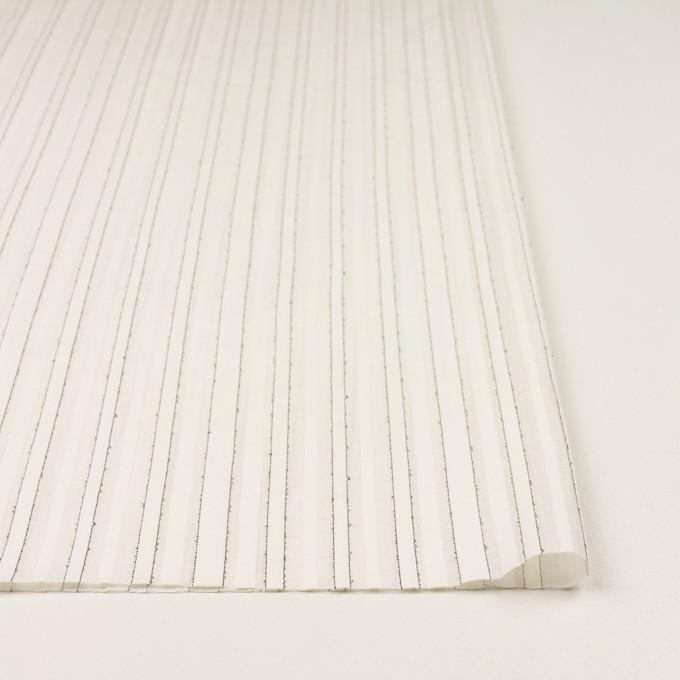 コットン&シルク混×ストライプ(ミルク&ブラック)×ボイルジャガード イメージ3