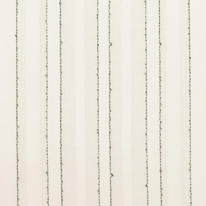 コットン&シルク混×ストライプ(ミルク&ブラック)×ボイルジャガード イメージ1