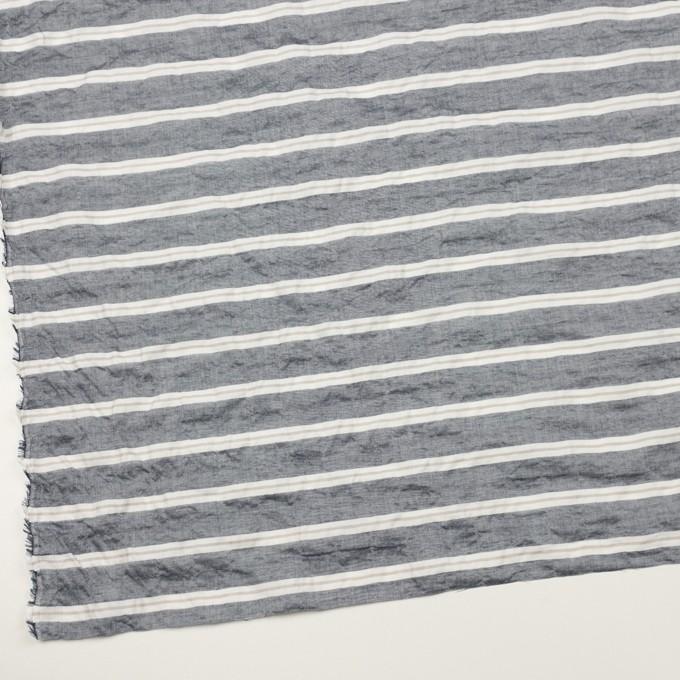 コットン&テンセル混×ボーダー(アッシュネイビー&グレイッシュベージュ)×シャンブレー・ジャガード・シャーリング イメージ2