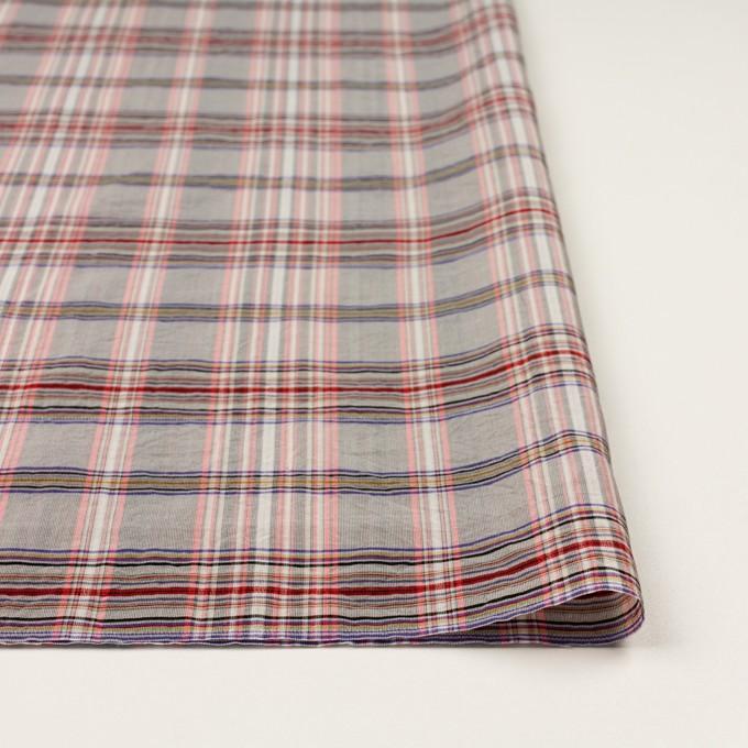 コットン&シルク×チェック(シルバーグレー、ピンク&グレープ)×オーガンジー イメージ3