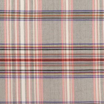 コットン&シルク×チェック(シルバーグレー、ピンク&グレープ)×オーガンジー