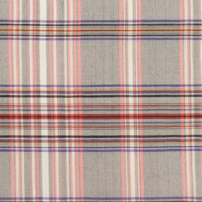 コットン&シルク×チェック(シルバーグレー、ピンク&グレープ)×オーガンジー イメージ1