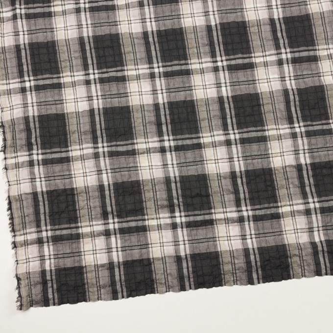 コットン&テンセル混×チェック(チャコールグレー&ペールピンク)×ボイルシャーリング イメージ2