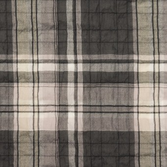 コットン&テンセル混×チェック(チャコールグレー&ペールピンク)×ボイルシャーリング