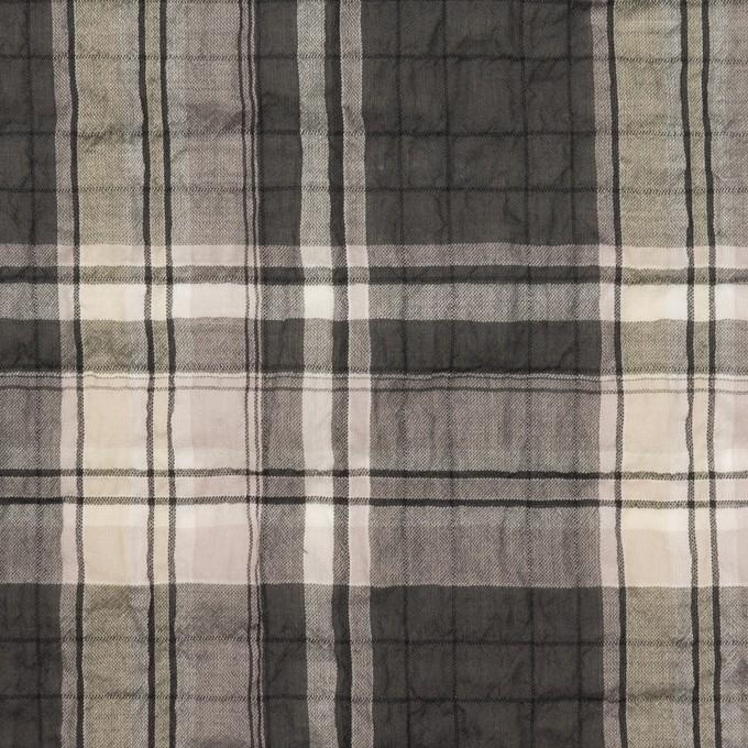 コットン&テンセル混×チェック(チャコールグレー&ペールピンク)×ボイルシャーリング イメージ1