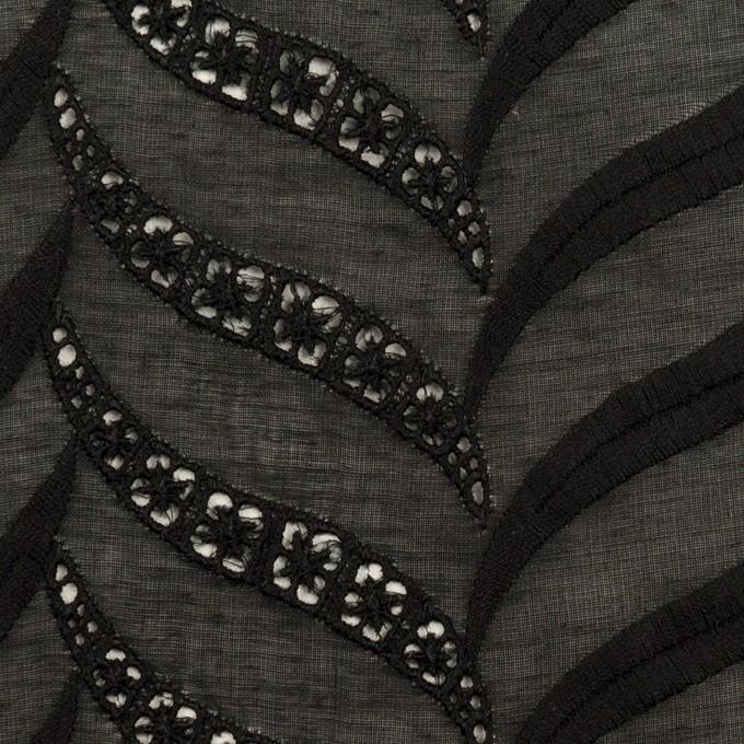 コットン×リーフ(ブラック)×ボイル刺繍_全2色 イメージ1