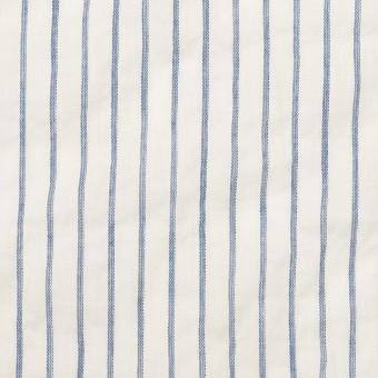 コットン&ポリウレタン×ストライプ(オフホワイト&ブルー)×ボイルシャーリング_全2色