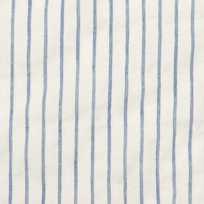 コットン&ポリウレタン×ストライプ(オフホワイト&ブルー)×ボイルシャーリング_全2色 イメージ1