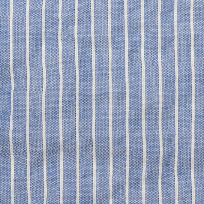 コットン&ポリウレタン×ストライプ(ブルー&オフホワイト)×ボイルシャーリング_全2色 イメージ1