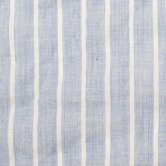 コットン&ポリウレタン×ストライプ(ブルー)×ボイルシャーリング イメージ1
