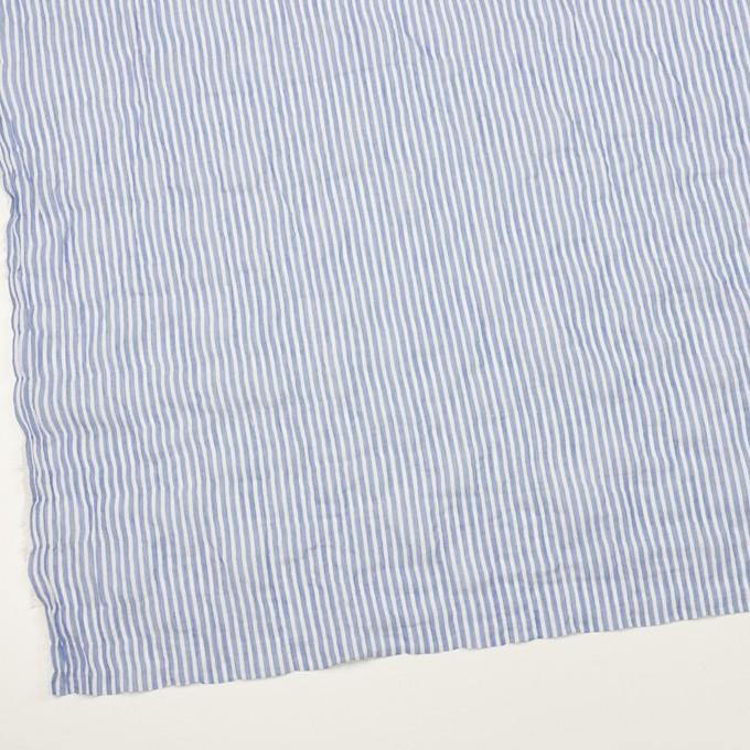 コットン&ポリウレタン×ストライプ(ブルー)×ボイルシャーリング イメージ2