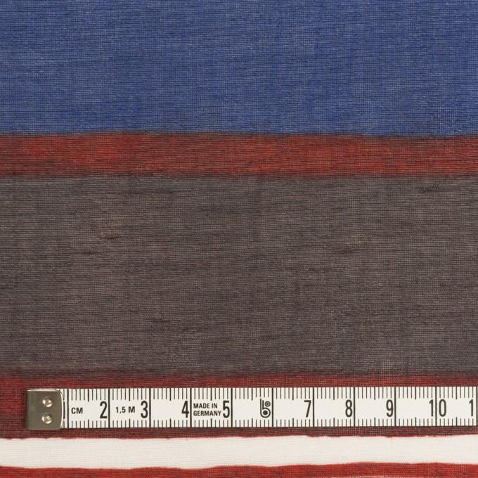リネン&ビスコース混×ボーダー(マリンブルー、ブラウン&アガット)×ボイル_パネル イメージ4