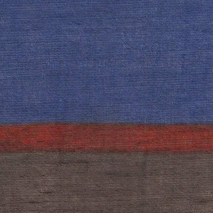 リネン&ビスコース混×ボーダー(マリンブルー、ブラウン&アガット)×ボイル_パネル イメージ1