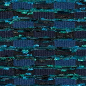 ポリエステル&シルク×ミックス(エメラルド、マリンブルー&ネイビー)×ジャガード サムネイル1