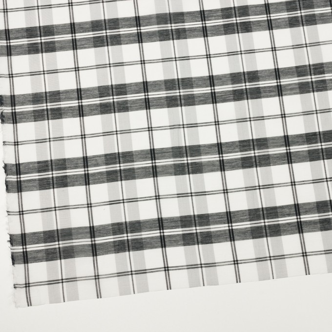 コットン&シルク×チェック(ホワイト&ブラック)×オーガンジー イメージ2